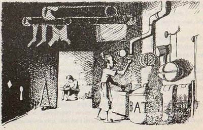 Line drawing of a thin woman cooking in a makeshift kitchen