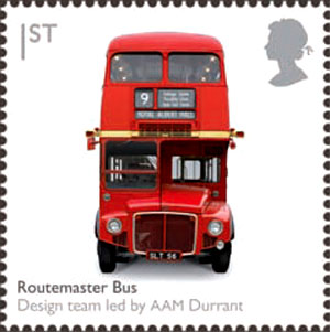 Postage stamp with front view of red double-decker bus
