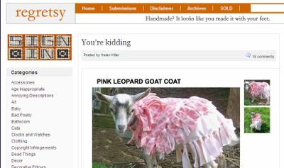 Screenshot of website with photo of goat wearing a pink coat