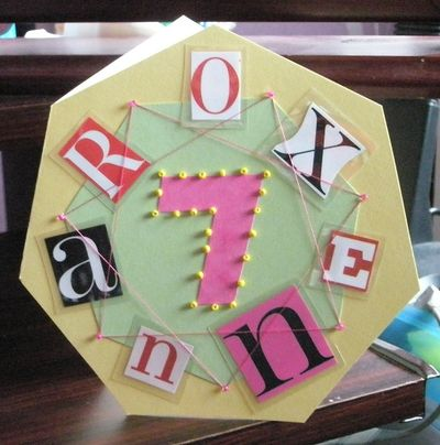 Roxanne's seven-sided 7th birthday card - design and im