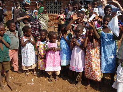 Young girls in Malawi wearing dresses made from pillowcases