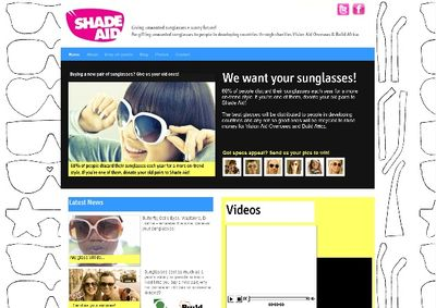 Screenshot from Shadeaid website showing people wearing sunglasses