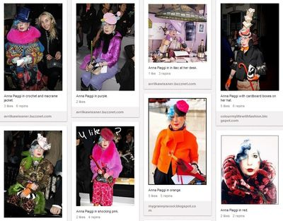 Screenshot of Pinterest page featuring multiple images of Anna Piaggi in brightly coloured outfits