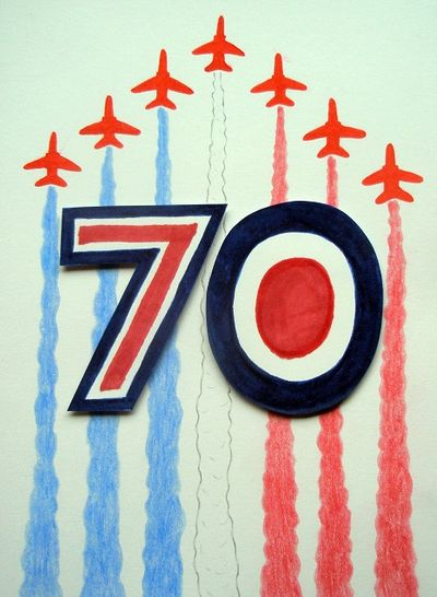 Card with red, white and blue '70' motif in the style of RAF logo, with Red Arrows planes flying behind it