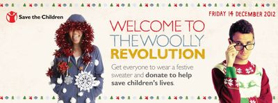 Two people wearing Christmas jumpers, next to the Save The Children logo and 'Welcome to the Woolly Revolution'