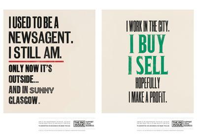 Poster reads 'I work in the city. I buy. I sell. Hopefully I make a profit.'