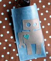 Sunglasses case with robot motif