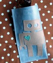 Sunglasses case with robot motif