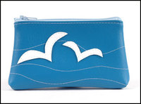 Blue pouch with seagulls motif