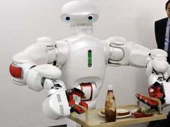 Robot with human-like features, carrying a breakfast tray