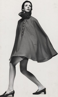 Cape with domed buttons, designed by John Bates for Jean Varon, late 1960s (c) Museum of Costume, Bath