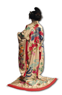 Furisode - Japan, ca. 1975-1985, ivory silk satin embroidered with muti-colored silk floss. Silverman/Rodgers Collection, KSUM 1983.1.0825