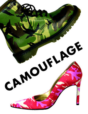 A green camouflage boot and pink camouflage stiletto shoe
