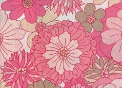 Detail of pillowcase in vibrant pink 1970s floral pattern