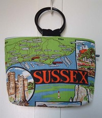 Front view of bag made from Sussex teatowel