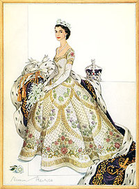 Design for the dress worn by Her Majesty Queen Elizabeth II at her Coronation. Image courtesy of Norman Hartnell, Silver and Gold, London: Evans Brothers Limited, 1955, p. 2