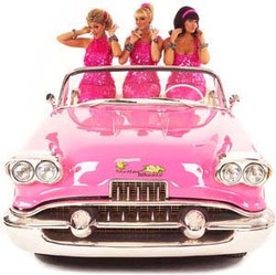 The Sheilas Wheels ladies in their pink car