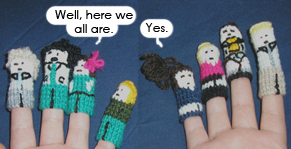 Knitted Green Wing finger puppets (c) green-knit-wing.livejournal.com